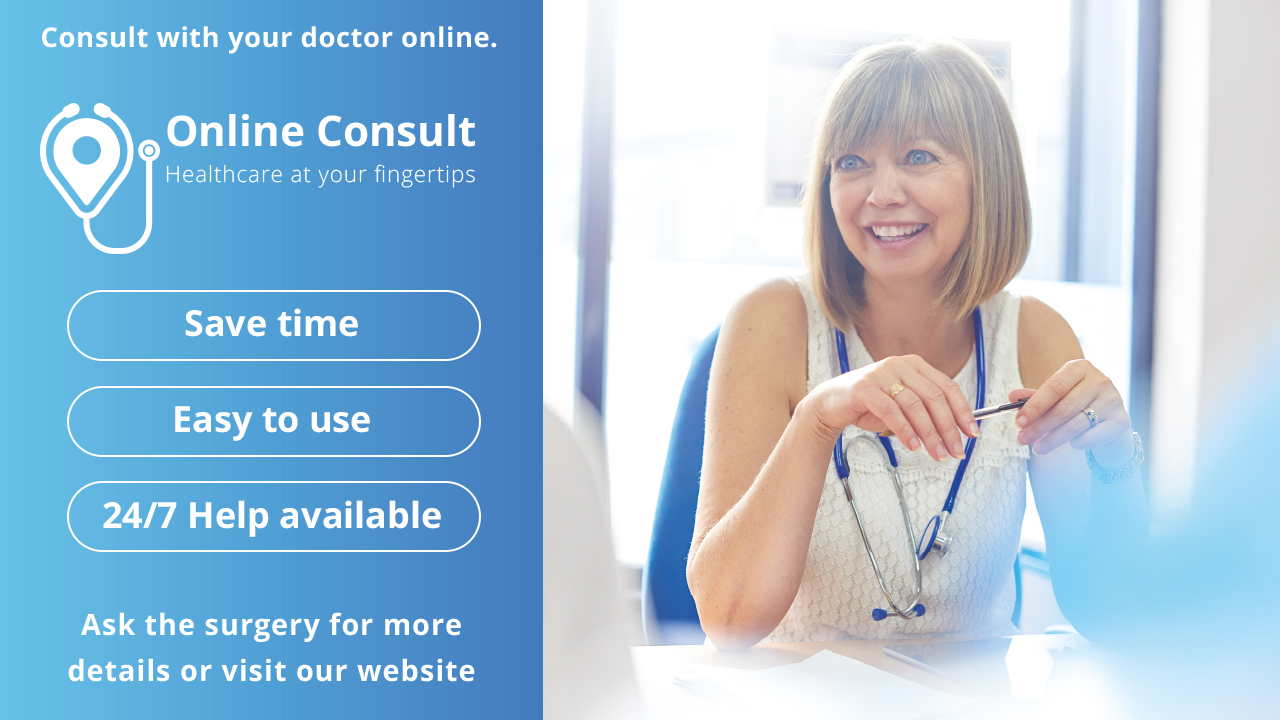 Online Consult banner linked to online consultation service.